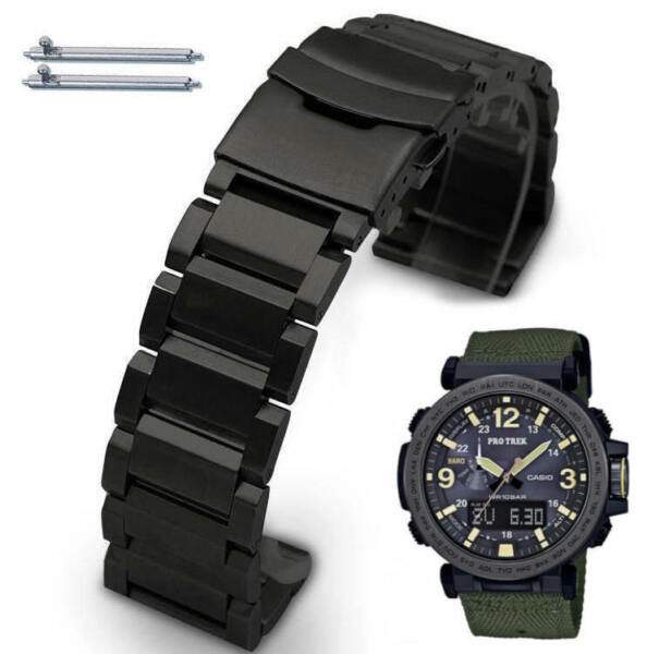 Black Steel Metal Replacement Watch Band Fits Casio Pro Trek PRG 600 PRG 650