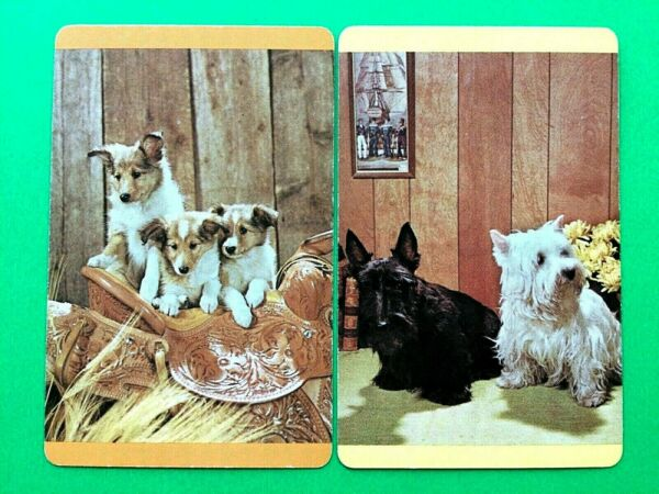 Dog Puppies at Home amp; in Basket Single Swap Playing Cards $2.49