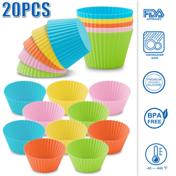20 PCS Silicone Molds Reusable Cupcake Liners Baking Cups Muffin Dessert Cookie