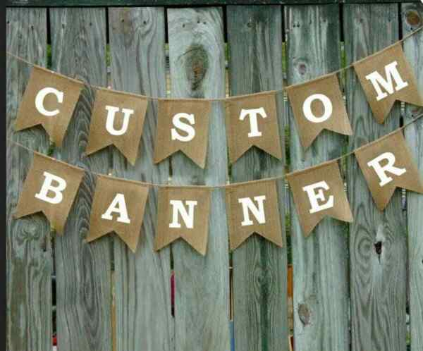 Blank Custom Burlap Banner Hanging Decor Wedding Birthday Baby Shower Hen Party