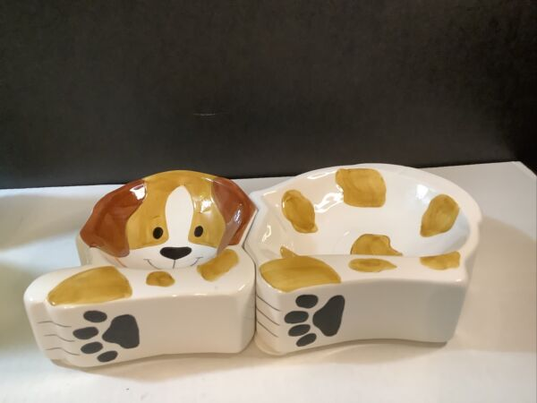 Mid Century Modern House Of Loyd Set Of Two Ceramic Dog Dishes $11.00