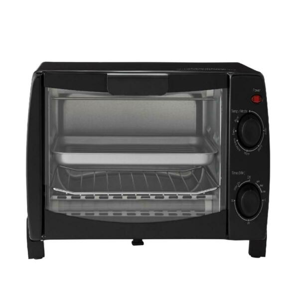 4 Slice Black Toaster Oven with Dishwasher Safe Rack amp; Pan 3 Piece