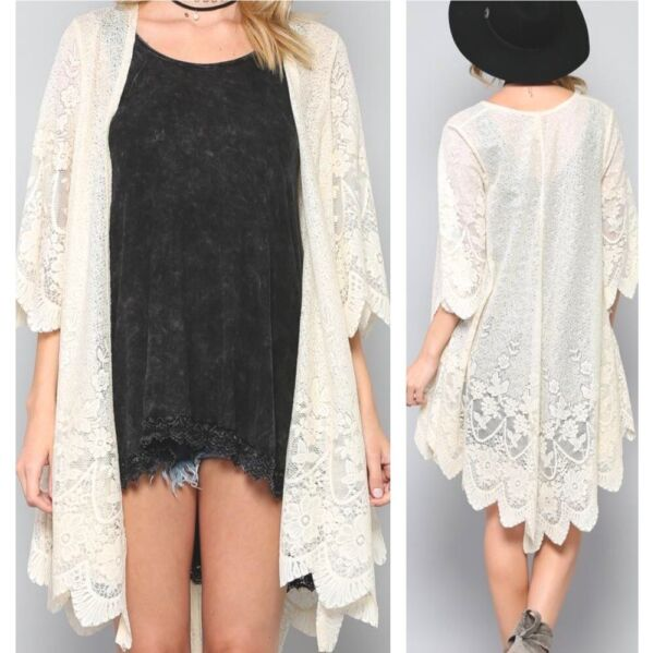 BY TOGETHER Boutique Cream Lace Kimono Medium or Large NWT