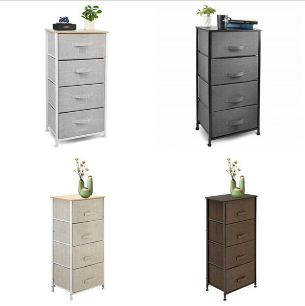 Nightstand Chest 4Drawers Bedside Dresser Furniture for Bedroom Office Organizer $43.69