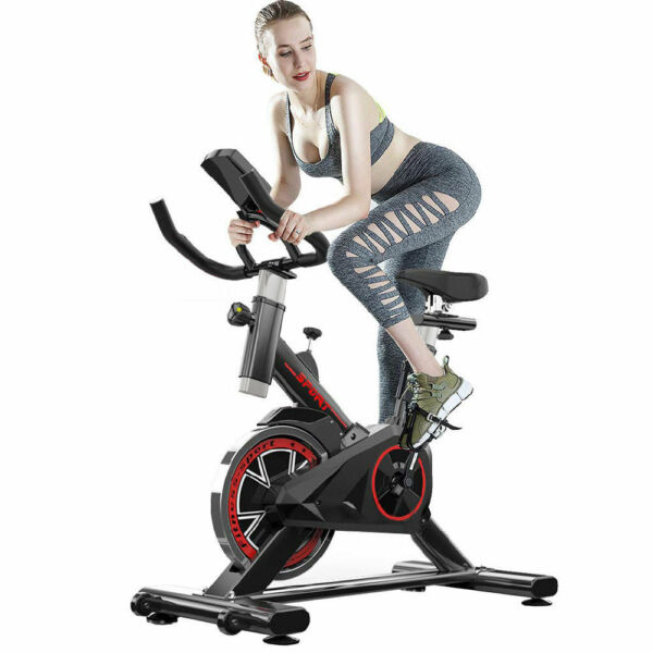 Indoor Exercise Bike Indoor Cycling Stationary Bike Belt Drive with LCD Monitor $191.69