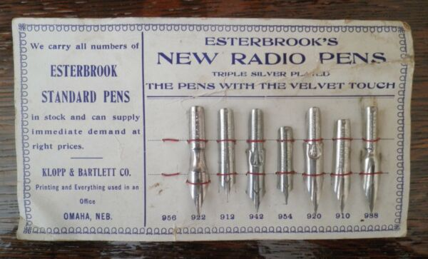 7 VINTAGE ESTERBROOK PEN NIBS TRIPLE SILVER PLATED NEW ON CARD OMAHA NE