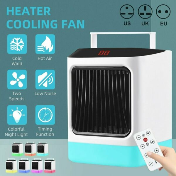 Portable Electric Heater Cooling Fan Night Light Hot Cold Air For Home Room USA $24.75