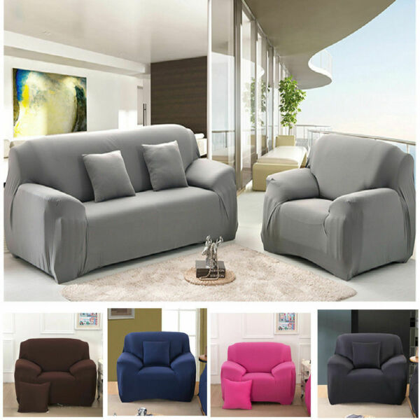 1 2 3 4 Seat Seater Sofa Slipcover Stretch Protector Couch Furniture Covers Home $14.74