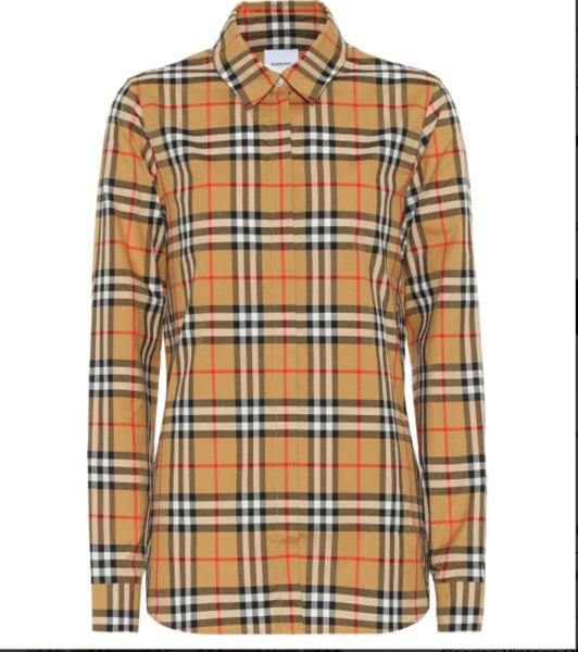 Burberry women#x27;s crow vintage check cotton long sleeve button down shirt $160.00