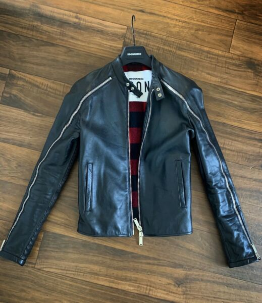 $3980 DSQUARED2 Slim Fit Leather Jacket Zipper Sleeves Size 48 Medium RARE $1349.00