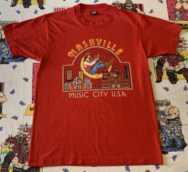 Vintage Screen Stars Nashville Music City USA T Shirt Sz Large Country Dope 90s