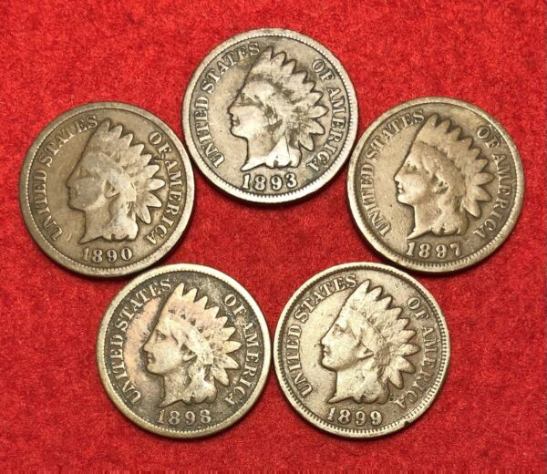 5 Vintage Indian Head Pennies 1 Cent US Coins Penny Lot 1890s AG or Better