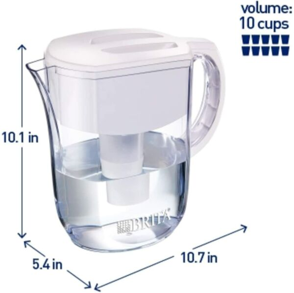 Brita Standard Everyday Water Filter Pitcher White Large 10 Cup 1 Count