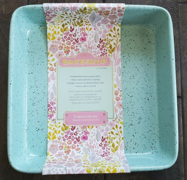 THE BAKESHOP by Masterclass 9quot; Square Cake Pan Mint Green w Black Speckled