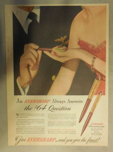 Eversharp Pens and Pencils Ad: Eversharp Always Answers The $64 Question 1940#x27;s