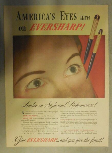 Eversharp Pens and Pencils Ad: America#x27;s Eyes Are On Eversharp from 1940#x27;s