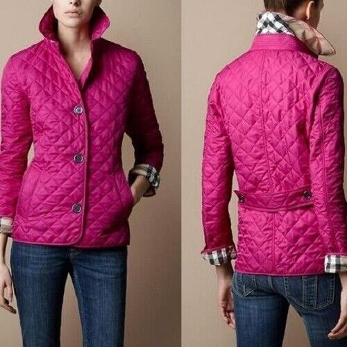 Burberry brit women#x27;s fucshia copford diamond quilted jacket $380.00