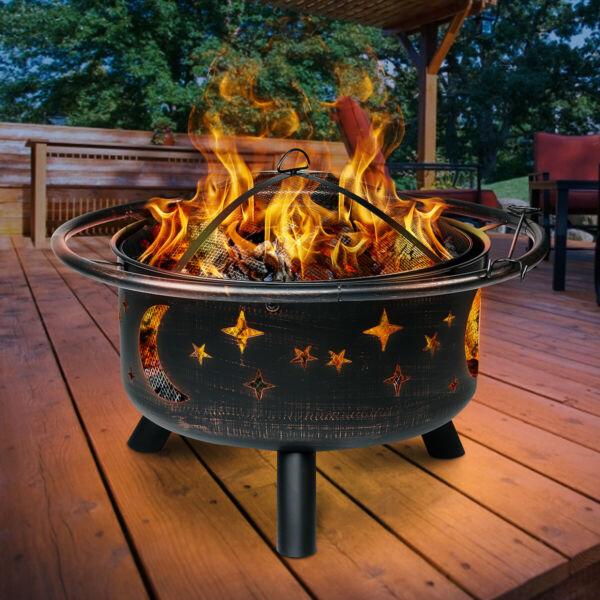 30quot; Outdoor Fire Pit Backyard Fireplace Wood Burning Heater Bowl Stove Steel