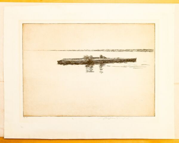 quot;Duck Blindquot; artist unknown original 1920s drypoint signed numbered 64 75