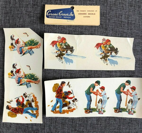 Water Mount Decals 8 pcs 4 Seasons w 2 Brothers amp; Dog 1960s Rockwell Look $5.99