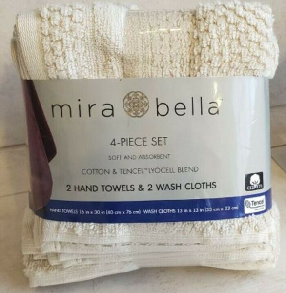 Mira Bella 4 Piece Beige Towel Set 2 Hand Towel 16x30 2 Wash Cloth 13x13 New