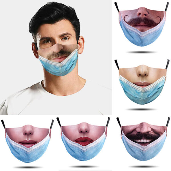 Unisex Funny 3D Printed Face Mask Breathable Washable Mouth Protection Reusable