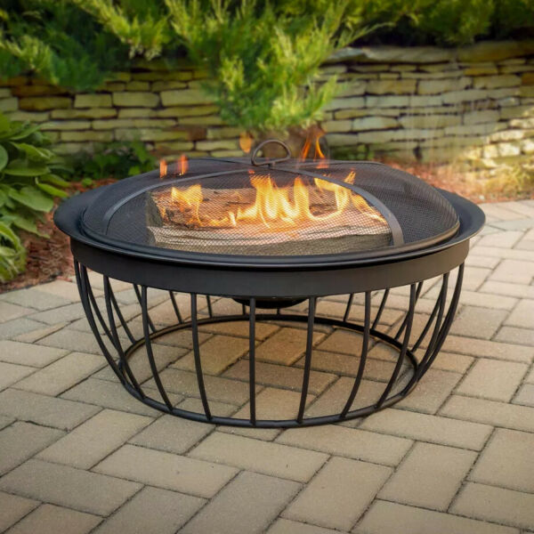 Outdoor Fire Pit Round 30 In Bowl Wood Burning Fireplace Black Steel Metal Frame