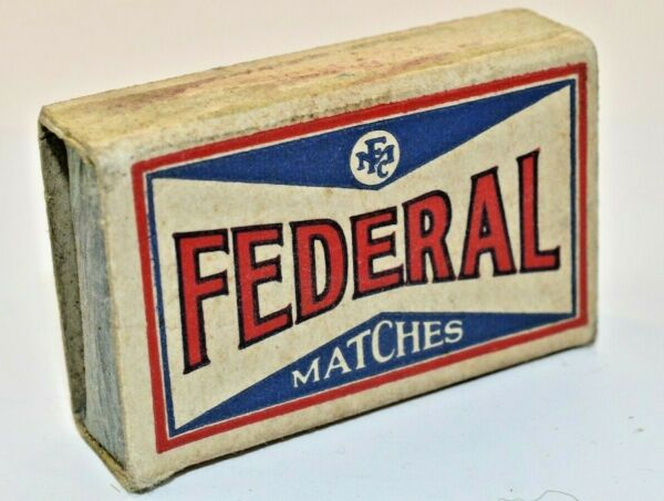 vintage Match Box Matches Federal Red White amp; Blue Lettering