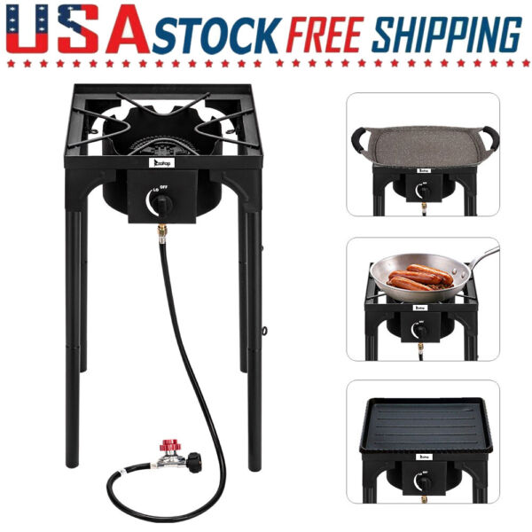 75000 BTU High Pressure Propane Gas Cooker Outdoor Camping Cooking Burner Stove