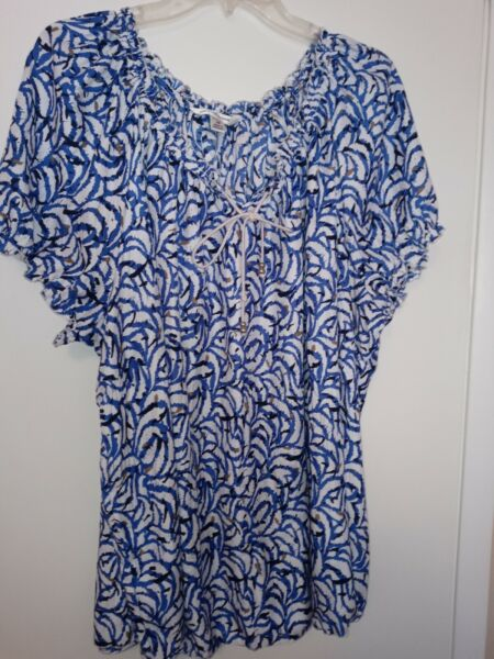 Ladies plus size blue and white top by CROFT amp; BARROW Woman size 3X $5.45
