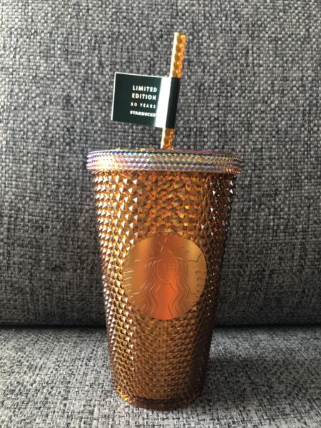 Starbucks Tumbler Limited Edition 50 Years Anniversary Gold Copper Grande Cold
