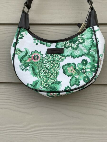 Burberry green white floral paisley hobo bag $295.00