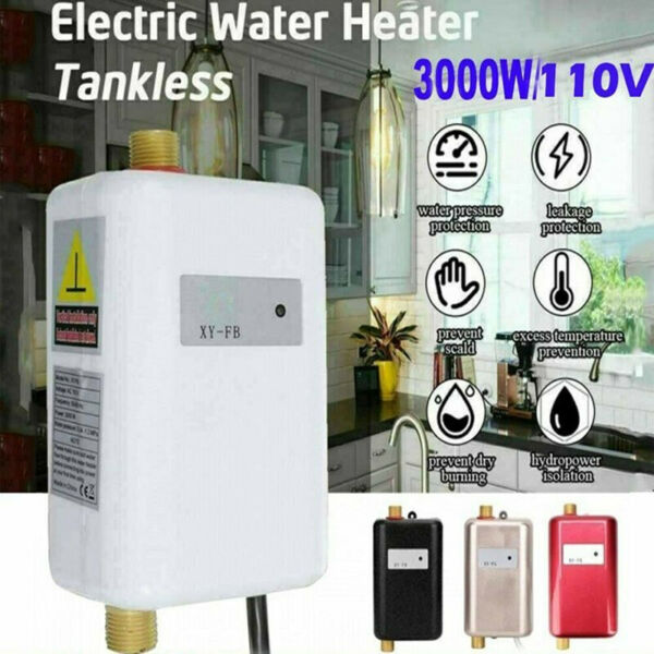 3000W Electric Tankless Instant Hot Water Heater Shower Kitchen Tap Faucet 110V $54.89