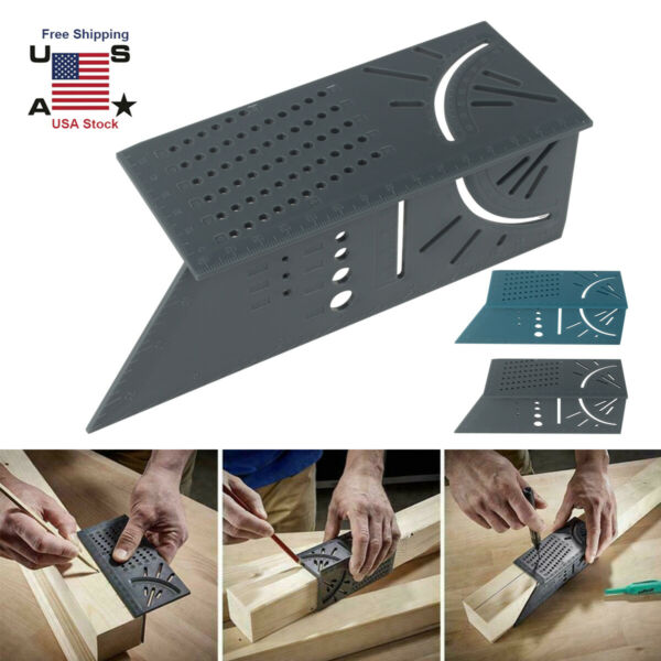 Wolfcraft 3D Mitre Angle Measuring Square Size Measure Tool With Gauge Ruler USA