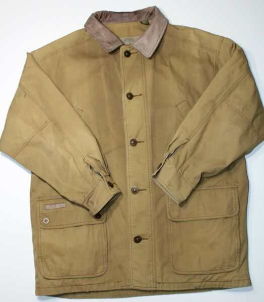 Timberland Weathergear Vintage Cotton Leather Field Barn Work Jacket Mens Large $34.99
