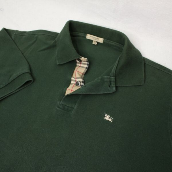Vintage Burberry Men#x27;s Nova Check Collar Polo Shirt Size Medium M Dark Green $44.95