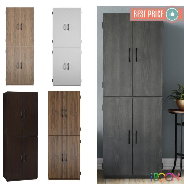 Wood Storage Cabinets 4 Doors Tall Pantry Cupboard vertical Kitchen Organizer
