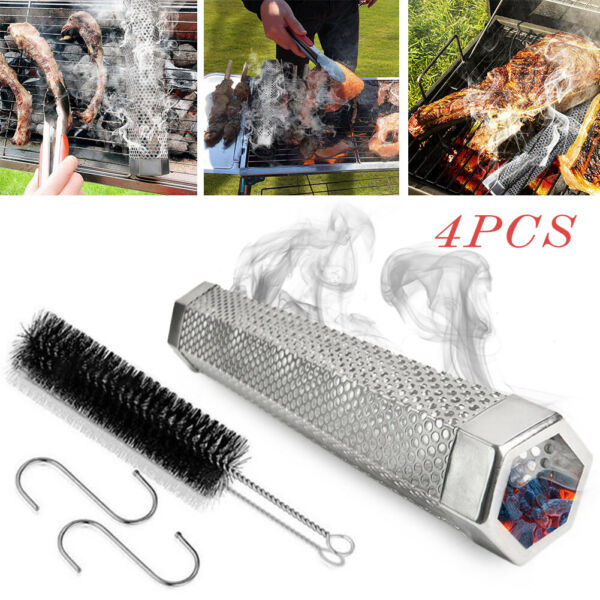 12quot; Stainless Steel Outdoor Wood Pellet Grill Smoker Filter Tube Pipe Smoke BBQ $11.96
