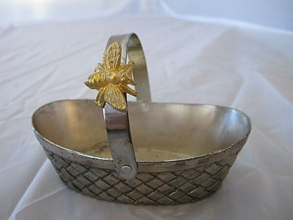 silver metal small Brass handled basket By Aldon Accessories with bee