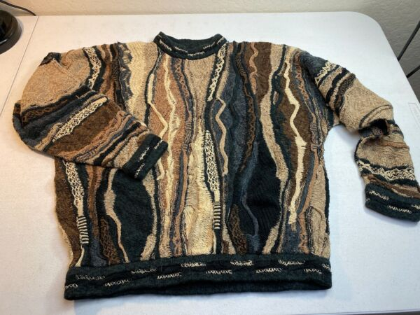 Vintage Coogi Sweater Biggie Smalls Cosby Hip Hop 3D Textured size Small $99.99