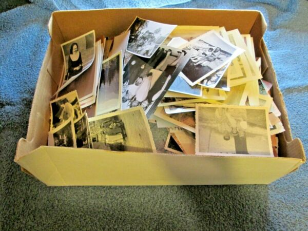 LARGE BOX OF HUNDREDS OF PHOTOGRAPHS 1940s UP GERMANY ? AND AMERICAN B amp; W COLOR