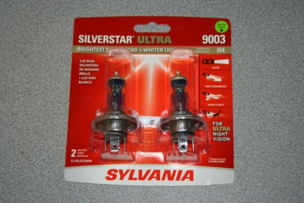 Sylvania Silverstar ULTRA 9003 H4 Pair Set High Performance Headlight Bulbs NEW