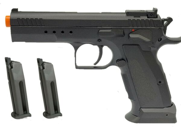 KWC CO2 gas blowback K75TS CZ 75 full metal airsoft pistol and 2 mag package