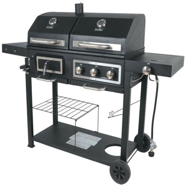 Dual Fuel Charcoal Gas Grill Combination BBQ Outdoor Cooking Burner Family Large