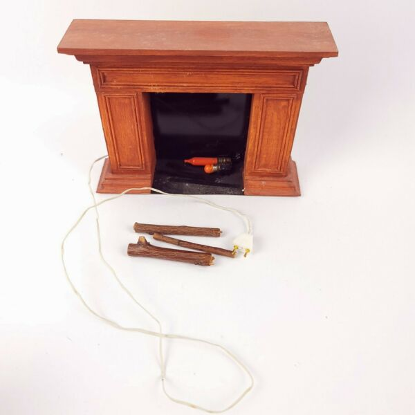 Dollhouse Miniature Fireplace and Logs with outlet for Fire Light
