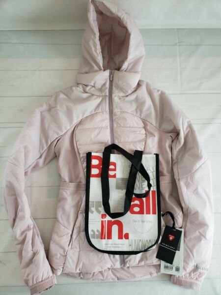 NWT Lululemon Down For It All Jacket POIK Porcelain Pink Size 6 Shopping Bag $139.99