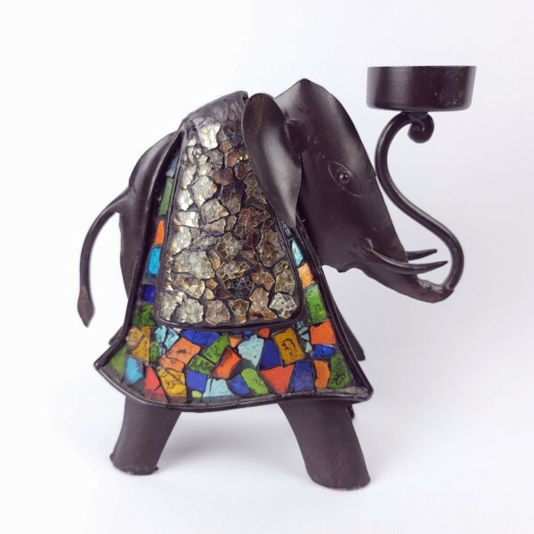 Metal and Glass Elephant Candle Holder Rustic Tealight Decorative Art