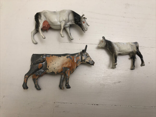 Set Of 3 Small Antique Cast Lead Toy Figure England Horse Cow Farm Animals