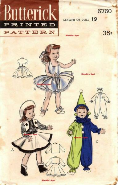 Doll Clothes Pattern 6760 Costumes for Toni Ballerina Cowgirl Clown 19quot; Ruth $11.99