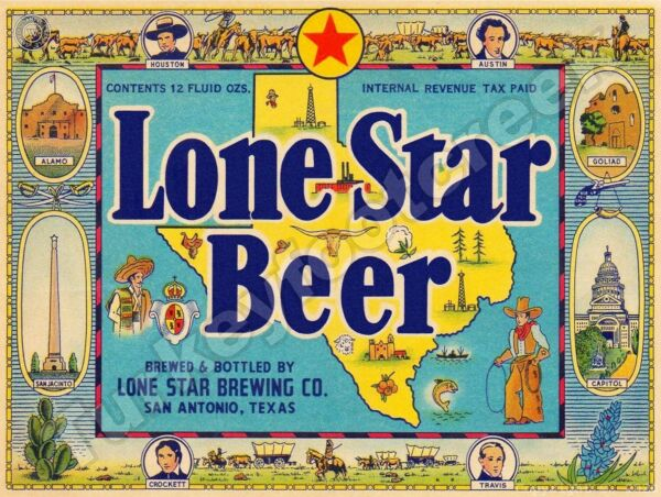 LONE STAR BEER LABEL 9quot; x 12quot; Sign
